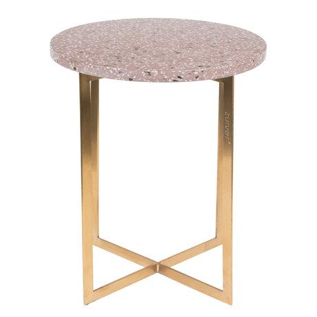 Zuiver Table d'appoint Luigi Round en fer Terrazo rouge foncé Ø40x45cm
