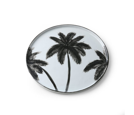 HK-living Assiette à dîner Bold & basic Palms en porcelaine noire et blanche 27x27x1.5cm