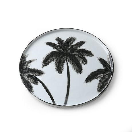HK-living Dinner plate Bold & basic Palms black and white porcelain 27x27x1.5cm