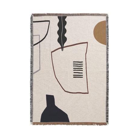 Ferm Living Plaid Mirage en coton multicolore blanc cassé 120x170cm