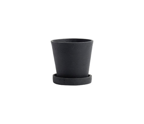 HAY Pot de fleurs avec soucoupe Flowerpot S pierre noire Ø11x10.5cm