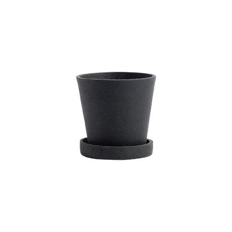 HAY Vaso per fiori con piattino Flowerpot S pietra nera Ø11x10,5cm