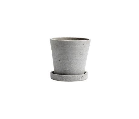 HAY Vaso per fiori con piattino Flowerpot S pietra grigia Ø11x10,5cm