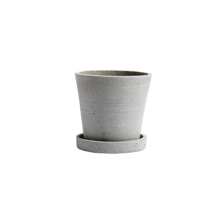 HAY Flowerpot with saucer Flowerpot S gray stone Ø11x10.5cm