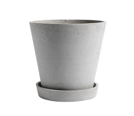 HAY Pot de fleurs avec soucoupe Pot de fleurs XL pierre grise Ø21,5x20cm