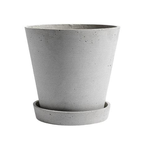 HAY Vaso per fiori con piattino Flowerpot XL pietra grigia Ø21,5x20cm