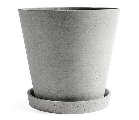 HAY Vaso per fiori con piattino Vaso per fiori XXXL pietra grigia Ø34x32cm