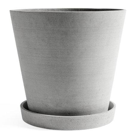 HAY Maceta con platillo Maceta XXXL piedra gris Ø34x32cm