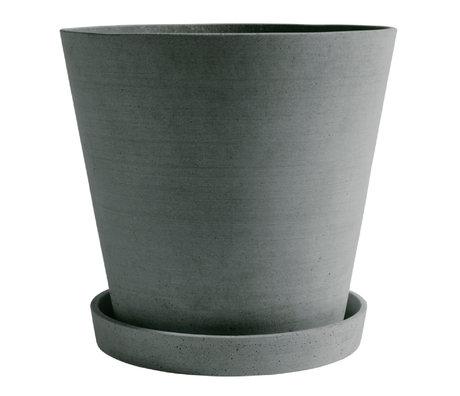 HAY Pot de fleurs avec soucoupe Pot de fleurs XXXL pierre verte Ø34x32cm