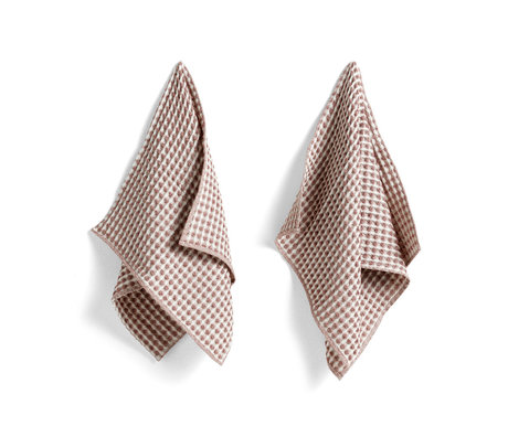 HAY Asciugamano + strofinaccio Twist in cotone bordeaux set di 4 29x29 cm / 65x38 cm