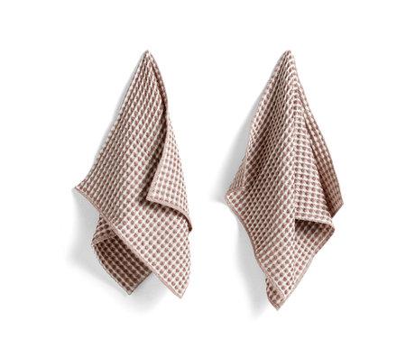 HAY Toalla + paño de cocina Twist algodón burdeos juego de 4 29x29cm / 65x38cm