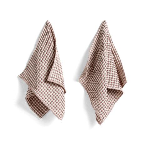 HAY Handtuch + Geschirrtuch Twist Burgunder Baumwolle Set von 4 29x29cm / 65x38cm
