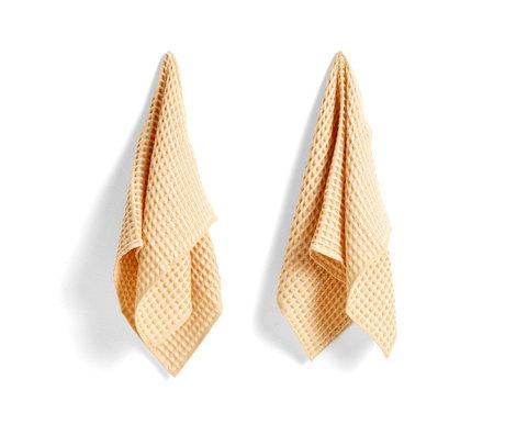 HAY Towel + dishcloth Twist yellow cotton set of 4 29x29cm / 65x38cm
