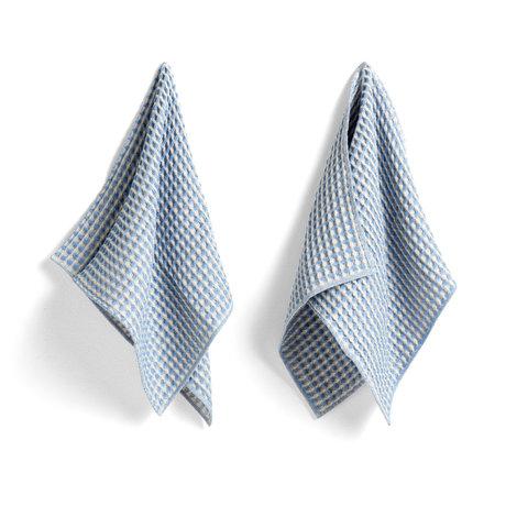 HAY Asciugamano + canovaccio Twist in cotone azzurro set di 4 29x29cm / 65x38cm