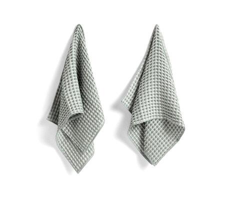 HAY Asciugamano + canovaccio Twist verde menta in cotone set di 4 29x29 cm / 65x38 cm