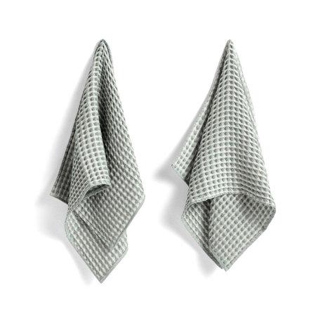 HAY Towel + dishcloth Twist mint green cotton set of 4 29x29cm / 65x38cm