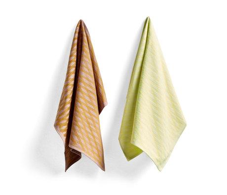 HAY Tea towel No1 Marker Diamond yellow cotton set of 2 75x52cm