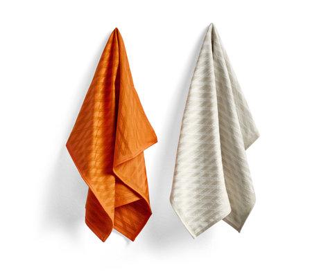 HAY Geschirrtuch No2 Marker Diamant orange Baumwolle Set von 2 75x52cm
