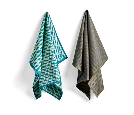 HAY Tea towel No3 Marker Diamond green cotton set of 2 75x52cm