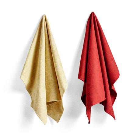 HAY Torchon No5 Ballpoint Scribble coton rouge lot de 2 75x52cm