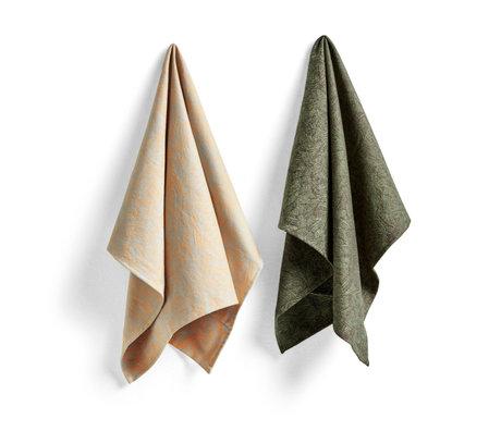 HAY Juego de 2 toallas de cocina de algodón verde Ballpoint Scribble No6 75x52cm
