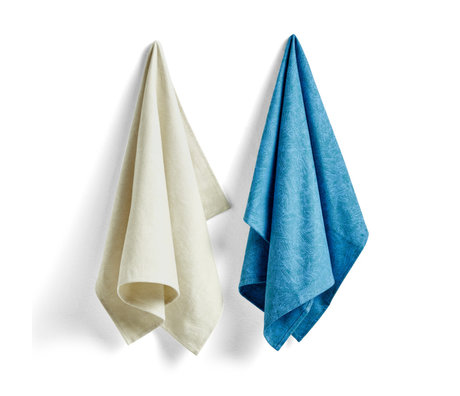 HAY Strofinaccio No7 Ballpoint Scribble set di 2 in cotone blu 75x52cm