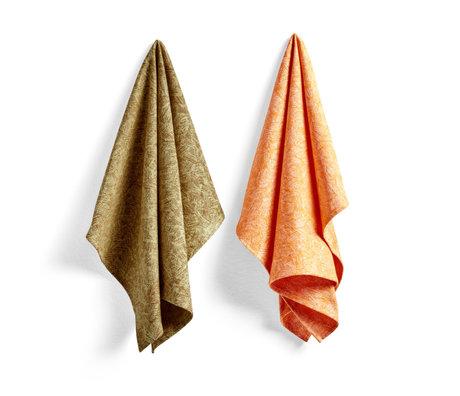 HAY Strofinaccio No8 Ballpoint Scribble arancione in cotone set di 2 75x52 cm