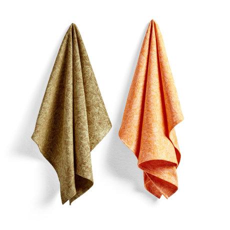 HAY Juego de 2 toallas de cocina de algodón naranja Ballpoint Scribble No8 75x52cm