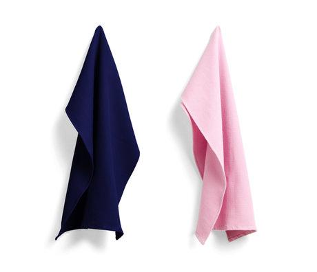 HAY Geschirrtuch Waffel rosa dunkelblaue Baumwolle 2er Set 75x52cm