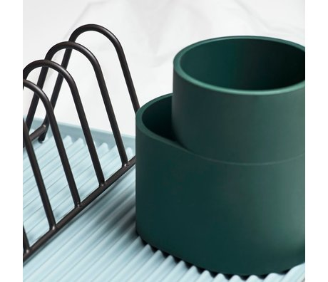 HAY Cup Dish Drainer dunkelgrünes Silikon 13x9,5x13cm