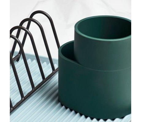 HAY Escurridor de platos taza silicona verde oscuro 13x9,5x13cm