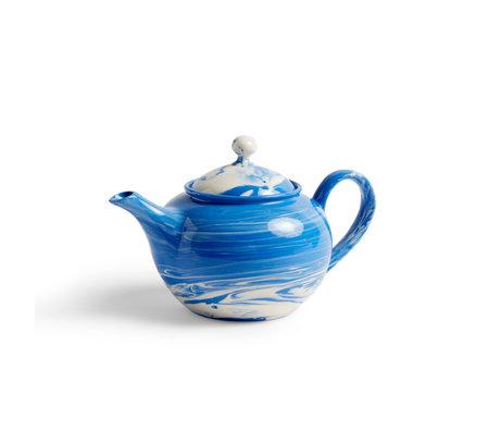 HAY Teapot Marbled blue porcelain 25x15x14.5cm