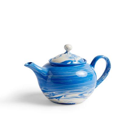 HAY Tetera Porcelana azul jaspeada 25x15x14.5cm