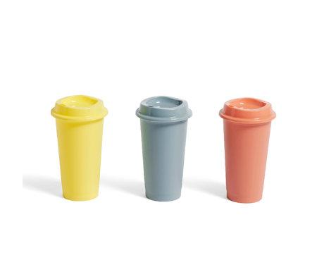 HAY Set di 3 tazze da caffè Paquet in terracotta gialla in plastica Ø9x16cm