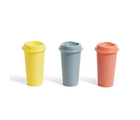 HAY Taza de café Paquet de plástico amarillo terracota juego de 3 Ø9x16cm
