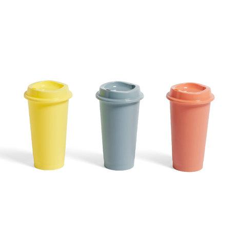 HAY Kaffeetasse Paquet Terrakotta gelb Kunststoff Set von 3 Ø9x16cm