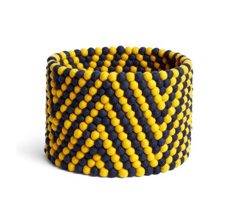 HAY Panier de rangement Bead Basket en laine jaune Ø40x30cm