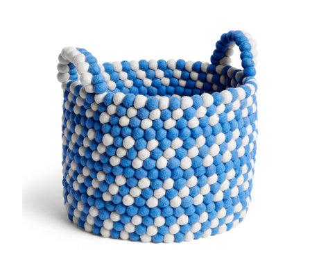 HAY Cesta de almacenamiento Bead Basket lana azul Ø40x32cm