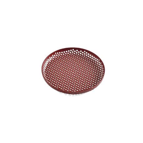 HAY Tablett Perforiertes Tablett S burgunderrotes Aluminium Ø20x2cm