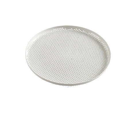 HAY Fach Perforiertes Fach L hellgraues Aluminium Ø35x2cm