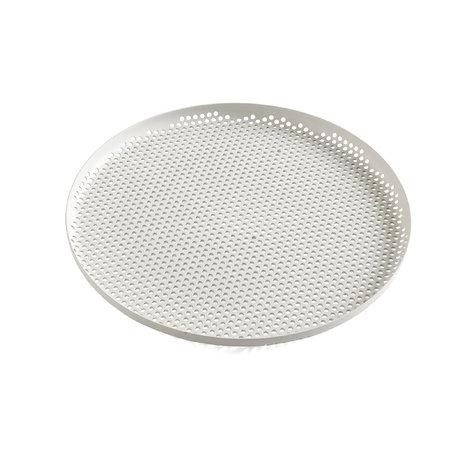 HAY Tray Perforated Tray L light gray aluminum Ø35x2cm