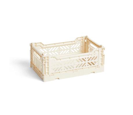 HAY Crate Color Crate S cremefarbener Kunststoff 26,5 x 17 x 10,5 cm