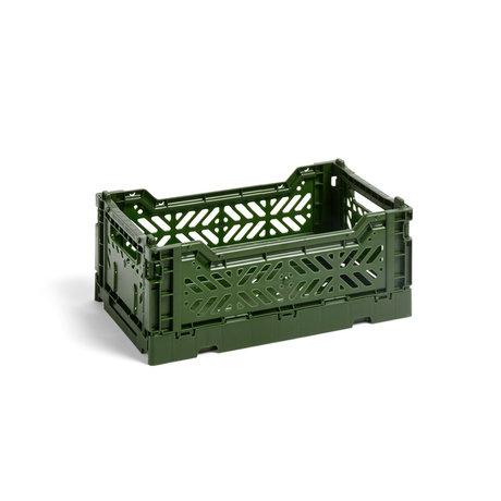 HAY Crate Color Crate S plastica verde scuro 26,5x17x10,5cm