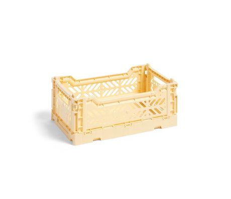 HAY Crate Color Crate S plástico amarillo claro 26,5x17x10,5cm