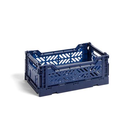 HAY Crate Color Crate S plastica blu scuro 26,5x17x10,5cm