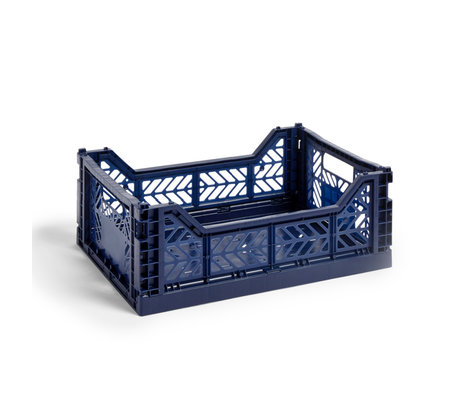 HAY Crate Color Crate M plastica blu scuro 40x30x14,5cm