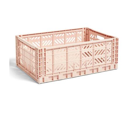 HAY Crate Color Crate L plástico rosa claro 60x40x22cm