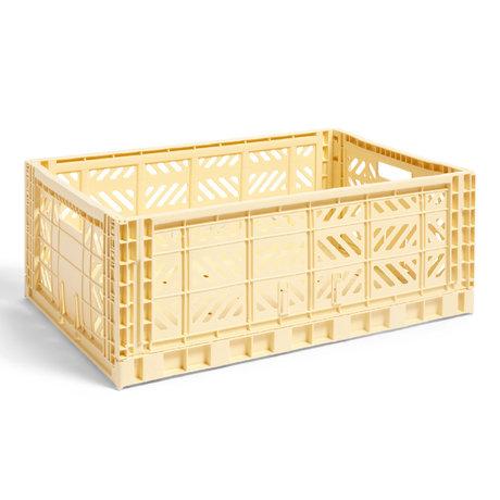 HAY Crate Color Crate L in plastica giallo chiaro 60x40x22cm
