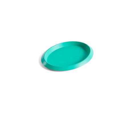 HAY Tray Ellipse Tray XS green steel 16x12.5x1.5cm