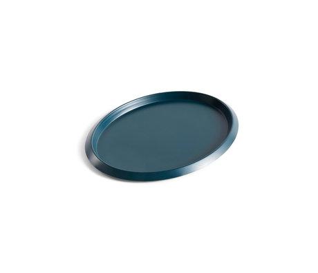 HAY Tray Ellipse Tray S dark green steel 23.5x18.5x1.5cm